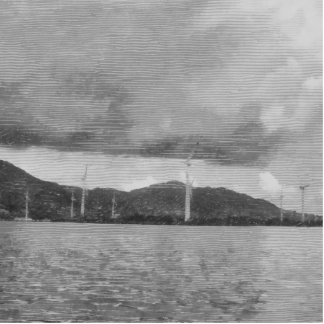 Windmills along the shore cutout