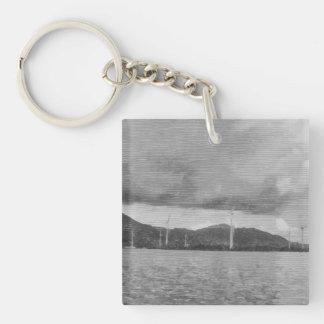 Windmills along the shore keychain