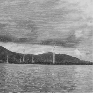 Windmills along the shore statuette