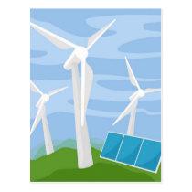 Windmills and Solar Cells Postcard