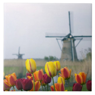 Windmills and tulips along the canal in ceramic tile
