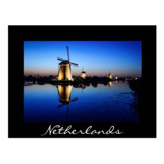 Windmills at Blue Hour black postcard