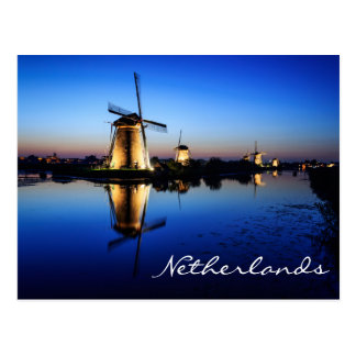 Windmills at Blue Hour in Netherlands postcard