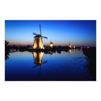 Windmills at Blue Hour photo print