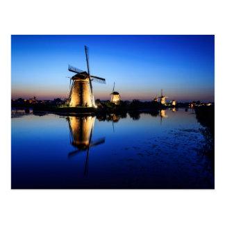Windmills at Blue Hour postcard