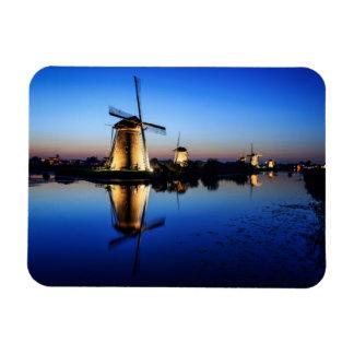 Windmills at Blue Hour rectangular magnet