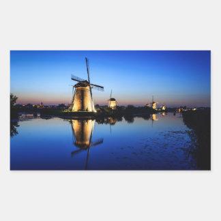 Windmills at Blue Hour rectangular sticker