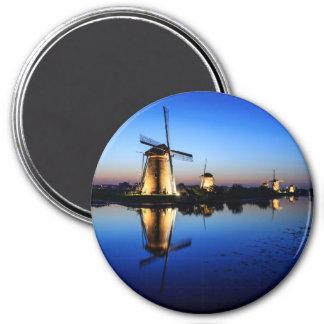 Windmills at Blue Hour round magnet