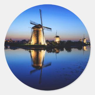 Windmills at Blue Hour round sticker