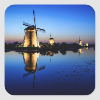 Windmills at Blue Hour square sticker