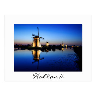 Windmills at Blue Hour white text postcard