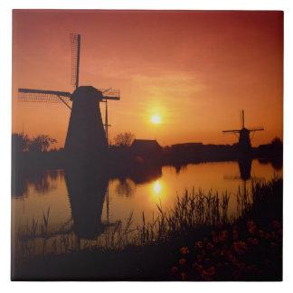 Windmills at sunset, Kinderdijk, Netherlands Ceramic Tile
