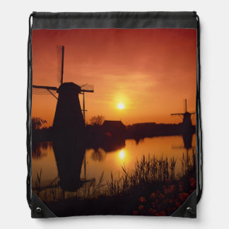 Windmills at sunset, Kinderdijk, Netherlands Drawstring Backpack