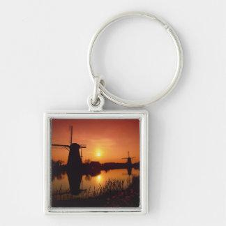 Windmills at sunset, Kinderdijk, Netherlands Keychain