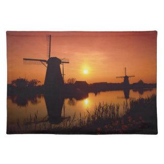 Windmills at sunset, Kinderdijk, Netherlands Placemat