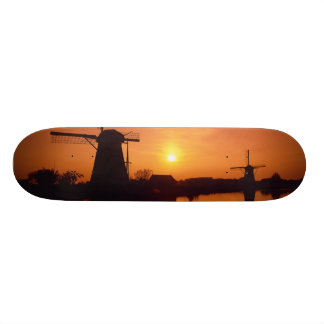 Windmills at sunset, Kinderdijk, Netherlands Skateboard Deck