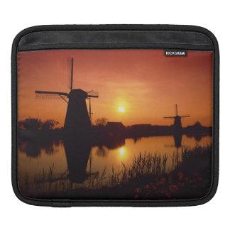 Windmills at sunset, Kinderdijk, Netherlands Sleeve For iPads