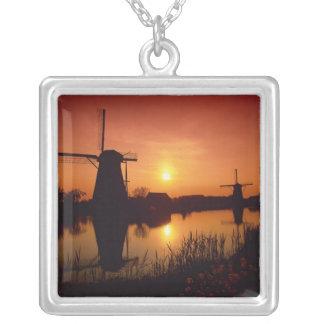 Windmills at sunset, Kinderdijk, Netherlands Square Pendant Necklace