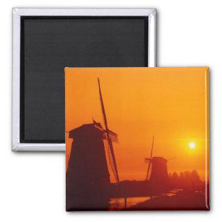 Windmills at sunset, Schermerhorn, Netherlands Magnet