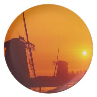 Windmills at sunset, Schermerhorn, Netherlands Melamine Plate