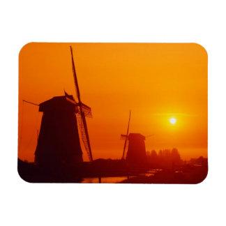 Windmills at sunset Schermerhorn Netherlands Rectangle Magnet