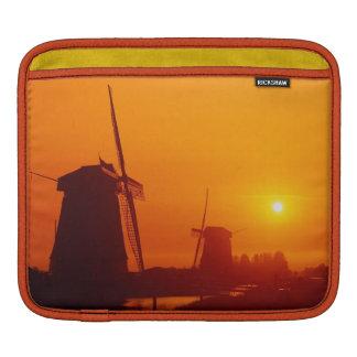 Windmills at sunset, Schermerhorn, Netherlands Sleeve For iPads