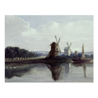 Windmills by a River, 19th century Post Cards