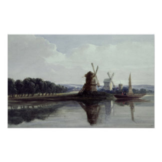 Windmills by a River, 19th century Print