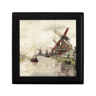 Windmills in Holland by Claude Monet Jewelry Box