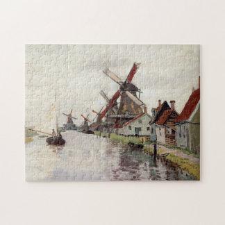 Windmills in Holland Monet Fine Art Puzzle