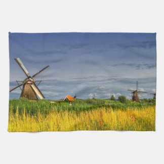 Windmills in Kinderdijk, Holland, Netherlands Kitchen Towel