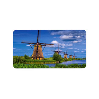 Windmills in Kinderdijk, Holland, Netherlands Label