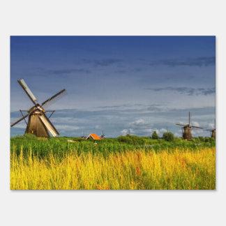 Windmills in Kinderdijk, Holland, Netherlands Lawn Sign