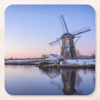 Windmills in winter in a sunrise, Holland coaster