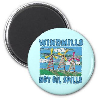 Windmills Not Oil Spills Tshirts 2 Inch Round Magnet