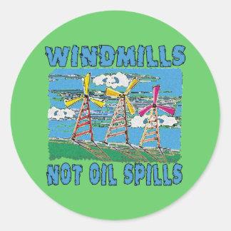 Windmills Not Oil Spills Tshirts Round Sticker