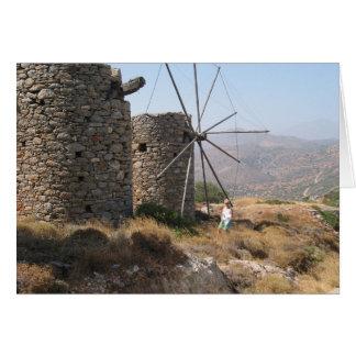 Windmills of Crete Greeting Card