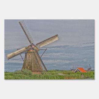 windmills of Kinderdijk world heritage site Lawn Sign
