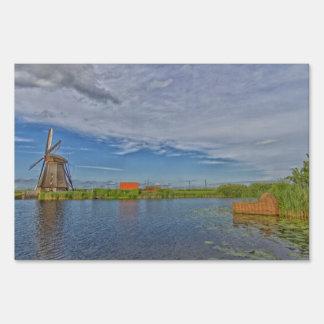windmills of Kinderdijk world heritage site Sign