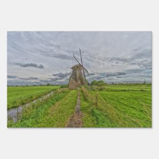 windmills of Kinderdijk world heritage site Yard Sign