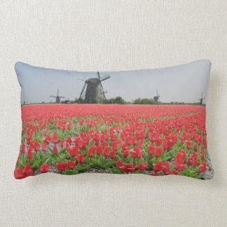 Windmills Red Tulips Field Pillows