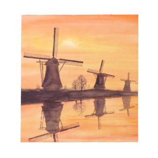 Windmills Sunset - Watercolor Painting Notepad