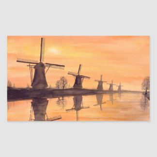 Windmills Sunset - Watercolor Painting Rectangular Sticker