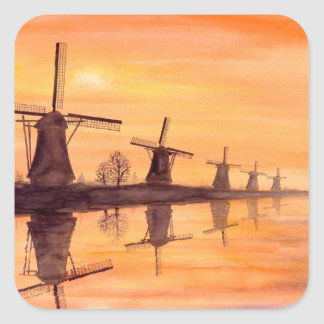 Windmills Sunset - Watercolor Painting Square Sticker