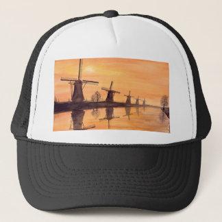 Windmills Sunset - Watercolor Painting Trucker Hat