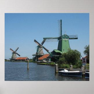 Windmills Zaanse Schans in Holland Poster