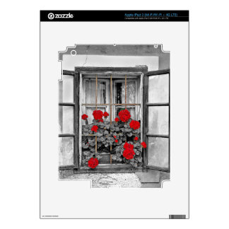 window-477937 window house black and white flowers decals for iPad 3