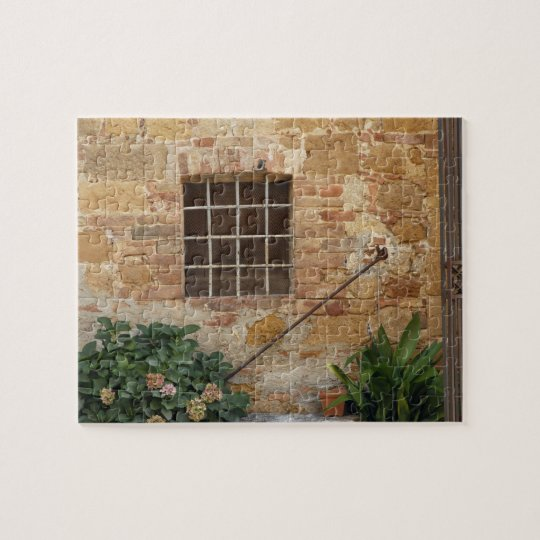 Window and ancient stone wall, Pienza, Italy Jigsaw Puzzle