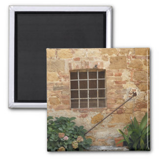 Window and ancient stone wall, Pienza, Italy Magnet