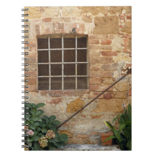 Window and ancient stone wall, Pienza, Italy Notebook